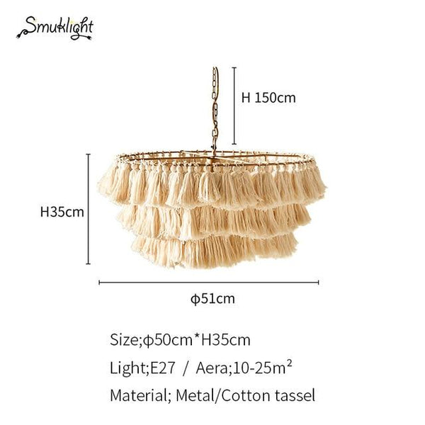 Cotton Tassel Bohemian Pendent Light (E27) Dia 51cm 691