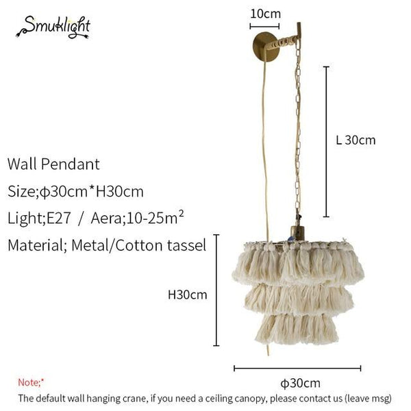 Cotton Tassel Bohemian Pendent Light (E27) Dia 30cm 193