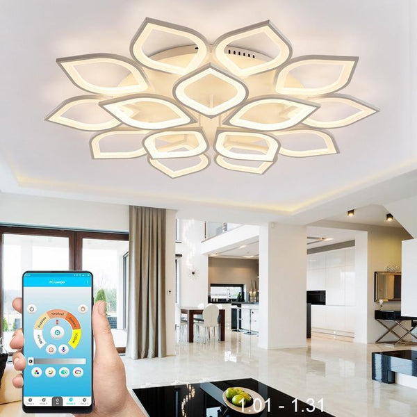 Clematis Flower Shaped LED chandelier with remote control-Decorative Chandelier-White / 15 heads / Warm white no remote-Khadiza Electricals