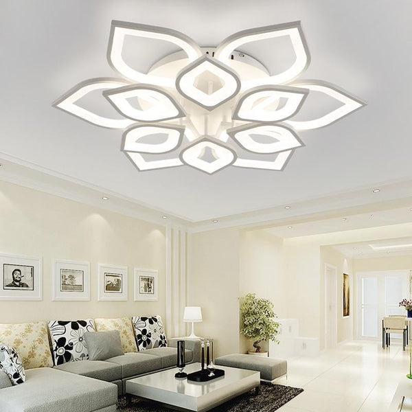 Clematis Flower Shaped LED chandelier with remote control-Decorative Chandelier-White / 12 heads / Warm white no remote-Khadiza Electricals