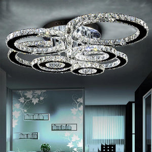 Modern led crystal chandelier light with Round Circle
