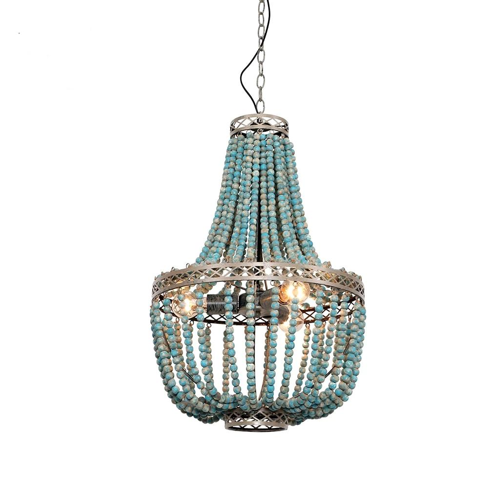 Vintage Modern Blue Wooden Beads Pendant Lamps(Bulb Excluded)-Decorative Pendant Lamp-[variant_title]-Khadiza Electricals