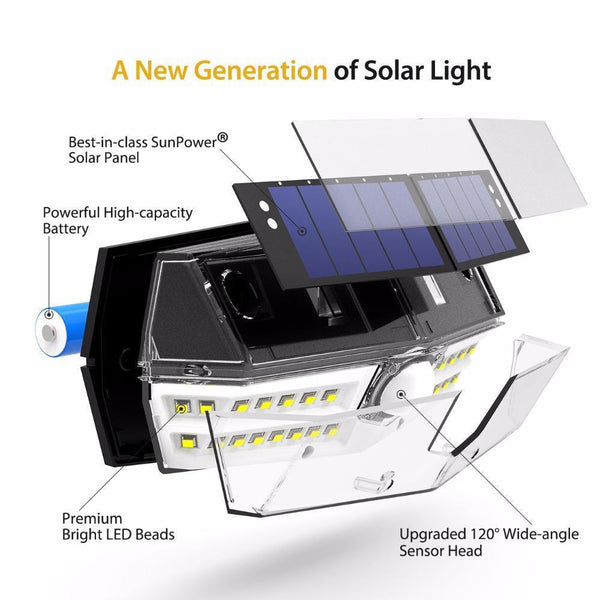 Waterproof Solar Wall Lamp with Wide Angle Solar Motion Sensor by Mpow(  30 LED)-Solar Outdoor Wall Lamp-[variant_title]-Khadiza Electricals