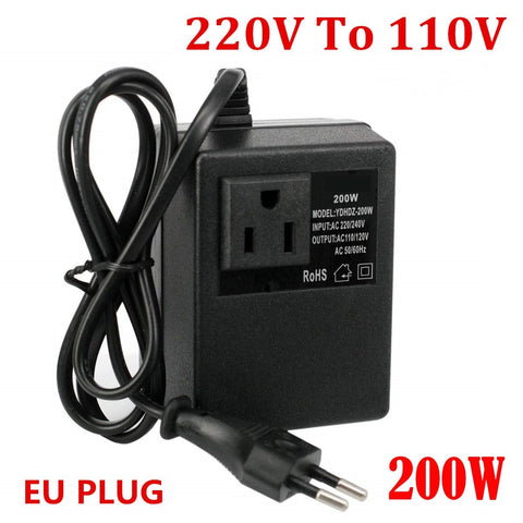Transformer Travel Adapter (Converts 220V To 110V, EU Plug, 200W)