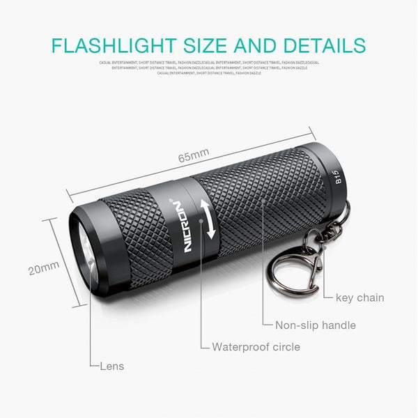 Waterproof Mini Dual Fuel LED Flashlight  with Keychain (400LM, 5 Modes) B10 / China / Gray