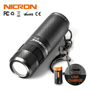 Waterproof Mini Dual Fuel LED Flashlight  with Keychain (400LM, 5 Modes)