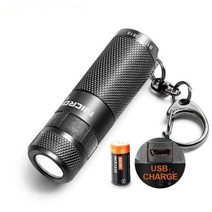 Waterproof USB Rechargeable LED Flashlight with Keychain (3W, 3 Modes)-Flashlight/ Torch-[variant_title]-Khadiza Electricals