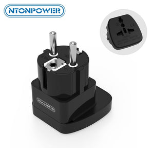 NTONPOWER UTA Universal Travel Adapter European Plug International Power Socket Wall Electrical Connector with Safety Shutter