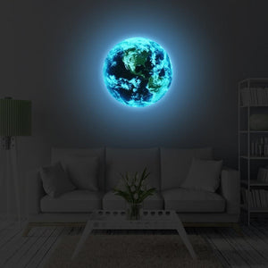 3D Luminous blue earth Wall Stickers for Home Decor-Non Electric Home Decor-diameter 10cm-Khadiza Electricals