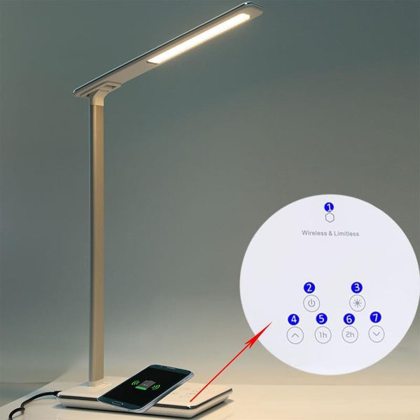 Folding LED Table Lamp with Eye Protection and Qi Wireless Mobile Charger EU Plug