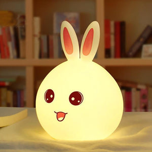 Multi-color Silicone Rabbit Night Lamp with Touch Sensor and Tap Control