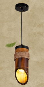 Stylish LED Pendant Lamp made of Hemp Rope and Bamboo