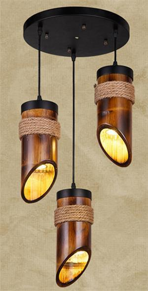 Stylish LED Pendant Lamp made of Hemp Rope and Bamboo-Decorative Pendant Lamp-3heads-Khadiza Electricals
