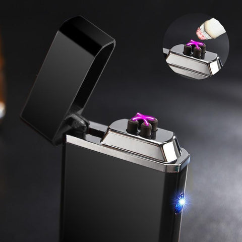 Classic Windproof USB powered Electric Lighter with Double Arc & Torch