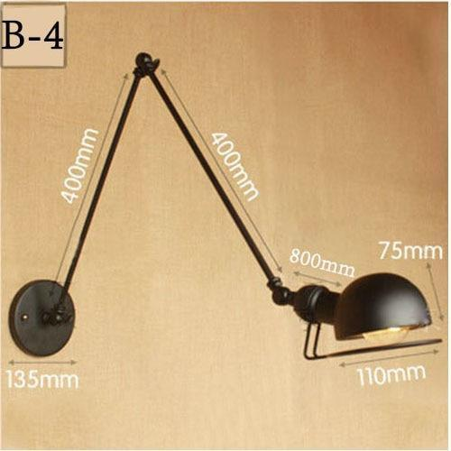 Vintage Adjustable  Metal Long Arm Wall Lamp-Decorative Wall Lamp-B4 / Led Bulb-Khadiza Electricals