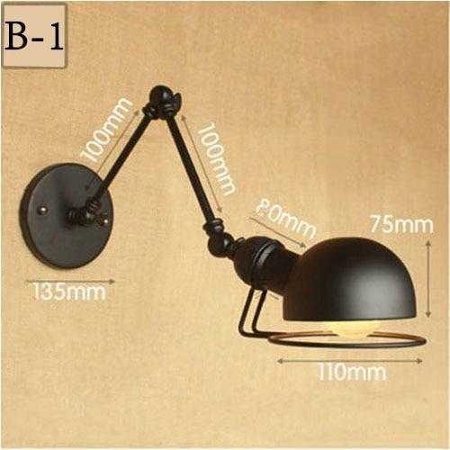Vintage Adjustable  Metal Long Arm Wall Lamp-Decorative Wall Lamp-B1 / Led Bulb-Khadiza Electricals