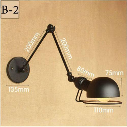 Vintage Adjustable  Metal Long Arm Wall Lamp-Decorative Wall Lamp-B2 / Led Bulb-Khadiza Electricals