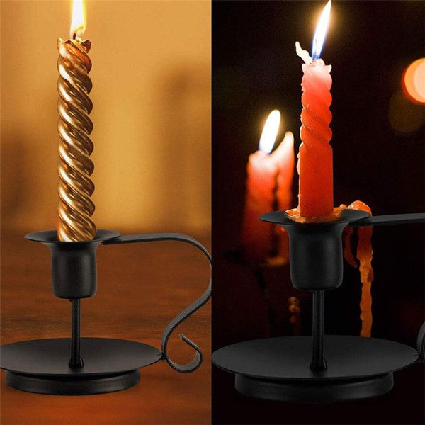 Iron Taper Candle Holder For Decor (Pack Of Two)