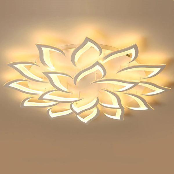 LED Lotus Chandelier-Decorative Chandelier-18 heads / Warm white no remote-Khadiza Electricals