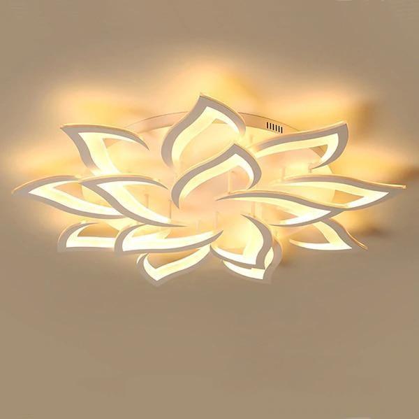 LED Lotus Chandelier-Decorative Chandelier-14 heads / Warm white no remote-Khadiza Electricals