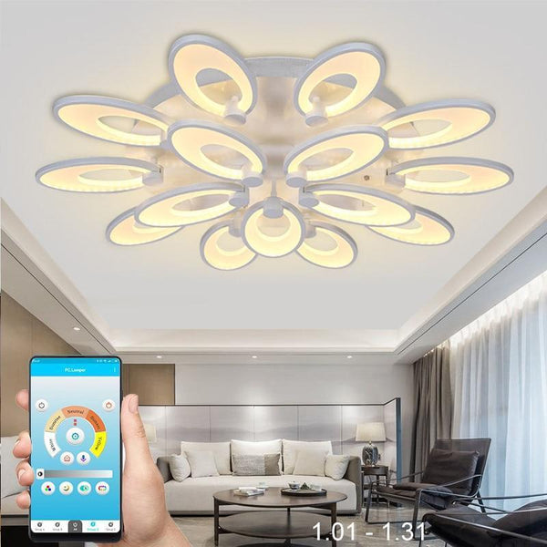 Gaillardia Flower Shaped LED Chandelier with App Control-Decorative Chandelier-15 heads / Warm white no remote-Khadiza Electricals
