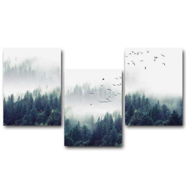 Nordic Forest Lanscape Wall Art Canvas Painting for Home Decor-Non Electric Home Decor-3 pcs Set / 13x18cm No Frame-Khadiza Electricals
