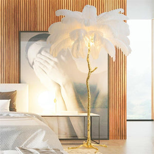 Ostrich Feather Copper Floor Lamp