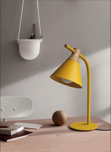 Simplistic Iron-Wood Table Lamp (E27 LED)-Decorative Table Lamp-Yellow-Khadiza Electricals