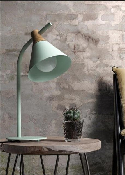 Simplistic Iron-Wood Table Lamp (E27 LED)-Decorative Table Lamp-Green-Khadiza Electricals