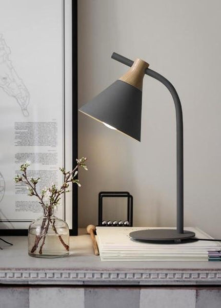 Simplistic Iron-Wood Table Lamp (E27 LED)-Decorative Table Lamp-Gray-Khadiza Electricals