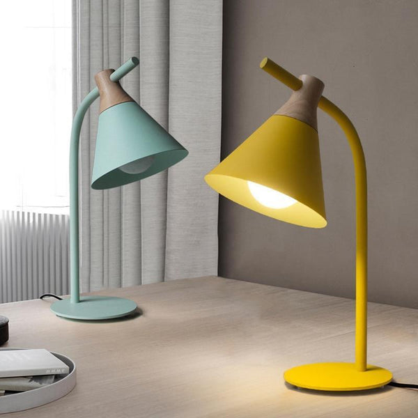 Simplistic Iron-Wood Table Lamp (E27 LED)-Decorative Table Lamp-[variant_title]-Khadiza Electricals