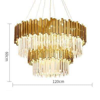 Golden Stainless Steel Crystal Chandelier 2 tier Dia120cm / silver (chrome)