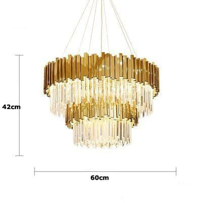 Golden Stainless Steel Crystal Chandelier 2 tier Dia60cm / Gold