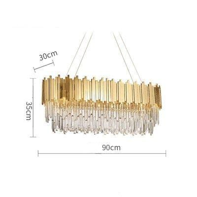 Golden Stainless Steel Crystal Chandelier Oval 90cm / silver (chrome)