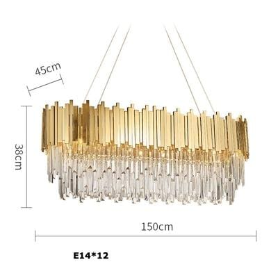Golden Stainless Steel Crystal Chandelier Oval 150cm / silver (chrome)