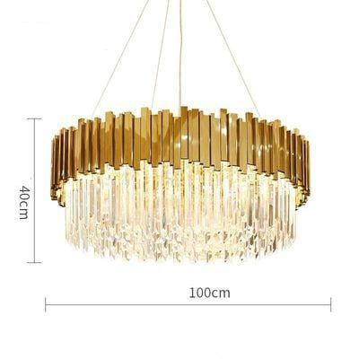 Golden Stainless Steel Crystal Chandelier Round Dia100cm / Gold