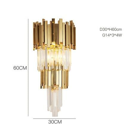 Golden Stainless Steel Crystal Chandelier wall lamp D / Gold