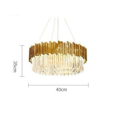 Golden Stainless Steel Crystal Chandelier Round Dia40cm / silver (chrome)