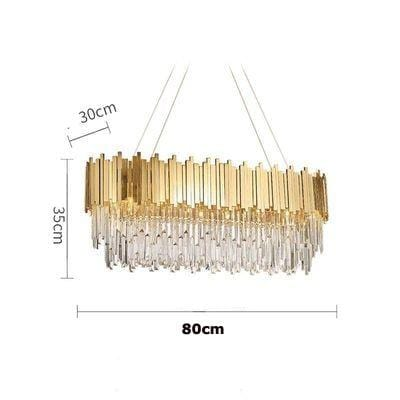 Golden Stainless Steel Crystal Chandelier Oval 80cm / silver (chrome)
