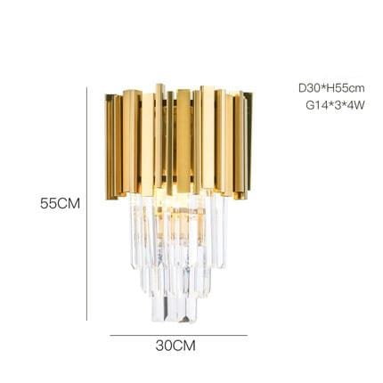 Golden Stainless Steel Crystal Chandelier wall lamp B / Gold