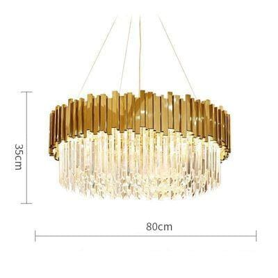 Golden Stainless Steel Crystal Chandelier Round Dia80cm / silver (chrome)