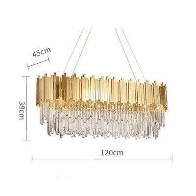 Golden Stainless Steel Crystal Chandelier Oval 120cm / Gold