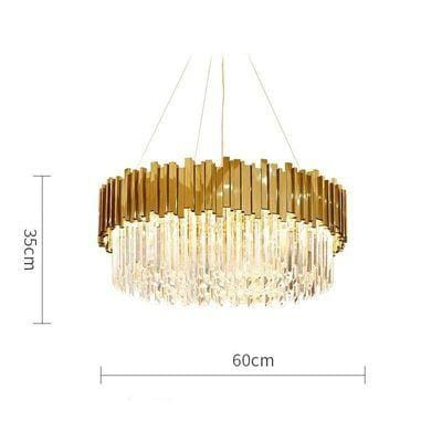 Golden Stainless Steel Crystal Chandelier Round Dia60cm / Gold