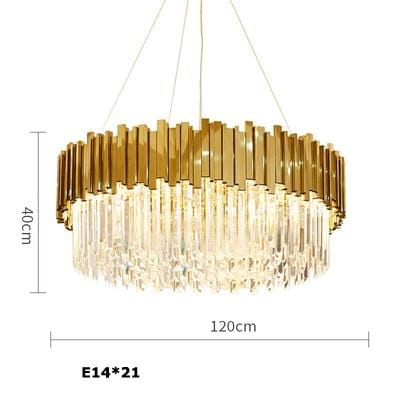 Golden Stainless Steel Crystal Chandelier Round Dia120cm / silver (chrome)