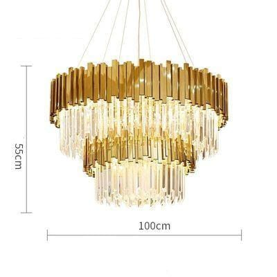 Golden Stainless Steel Crystal Chandelier 2 tier Dia100cm / Gold