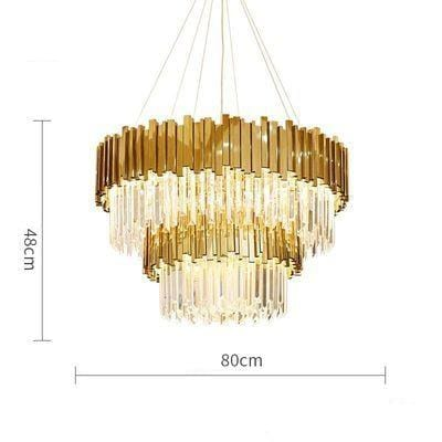 Golden Stainless Steel Crystal Chandelier 2 tier Dia80cm / silver (chrome)