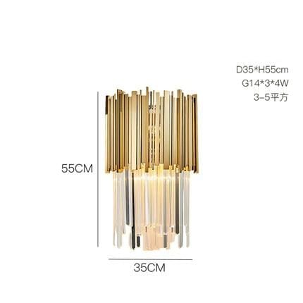 Golden Stainless Steel Crystal Chandelier wall lamp C / silver (chrome)