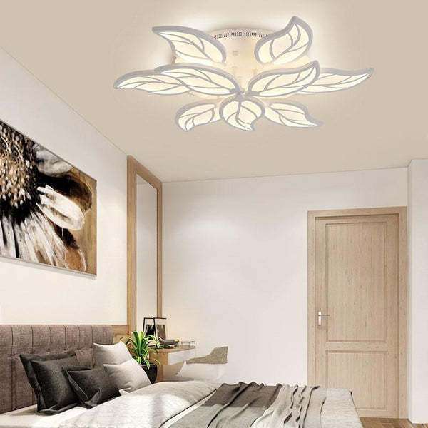 Leaf Styled Led Ceiling Chandelier with App Control-Decorative Chandelier-White / 9heads / Dimmable with remote-Khadiza Electricals