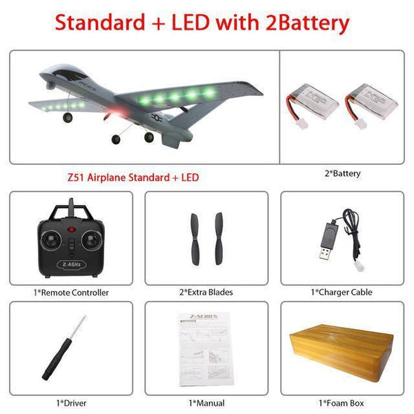 Remote Controlled Airplane Plane (20 Minutes Flight Time)-Toy-Z51-Led 2B foam box-Khadiza Electricals