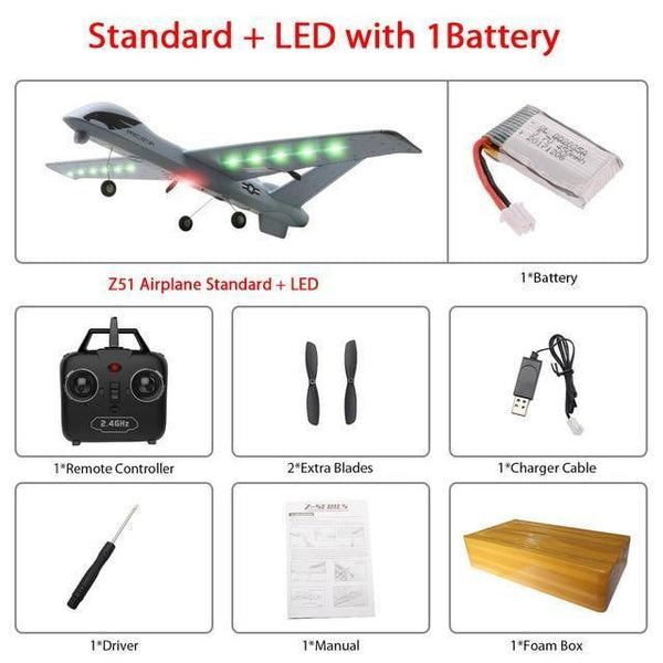 Remote Controlled Airplane Plane (20 Minutes Flight Time)-Toy-Z51-Led 1B foam box-Khadiza Electricals